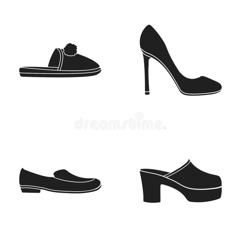 Deslizadores hechos en casa con un pampon, zapatos de tacón alto de las mujeres s, zapatos bajo-inclinados, estorbos, deslizadore libre illustration