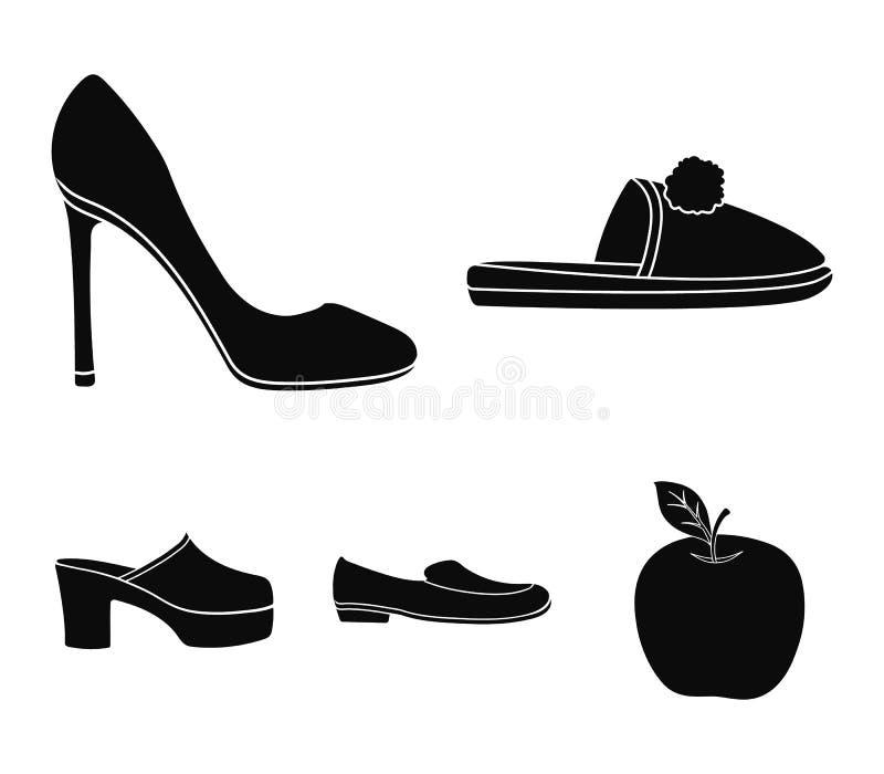 Deslizadores hechos en casa con un pampon, zapatos de tacón alto del ` s de las mujeres, zapatos bajo-inclinados, estorbos, desli ilustración del vector