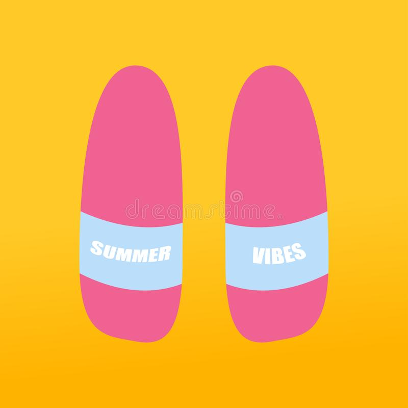 deslizadores rosados de los ambientes del verano en fondo amarillo ilustración del vector