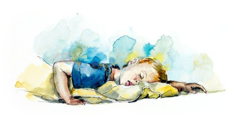 Deslizamento do bebê Ilustração tirada mão da aquarela ilustração royalty free