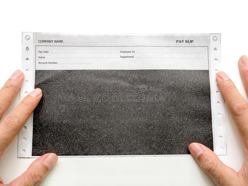 Deslizamento do salário do carbono, ou papel químico no branco fotografia de stock