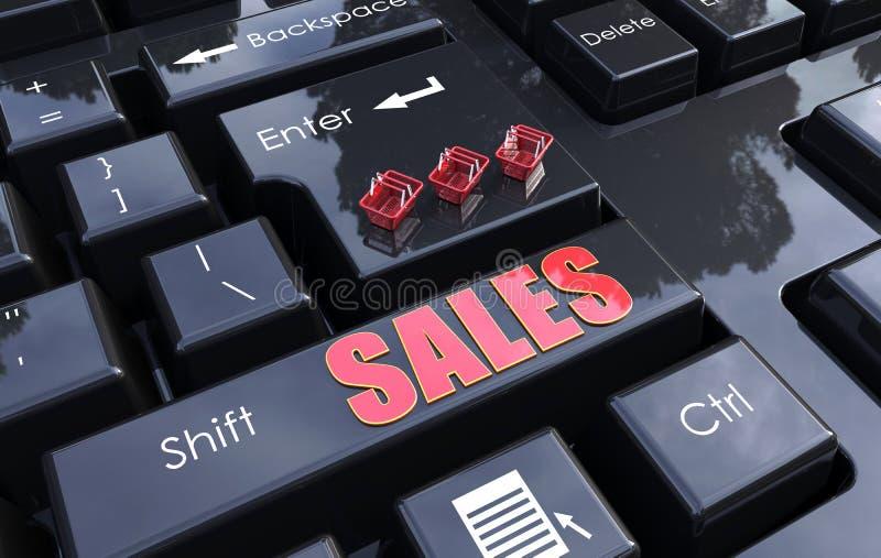 Desloque o conceito em linha das vendas ilustração do vetor