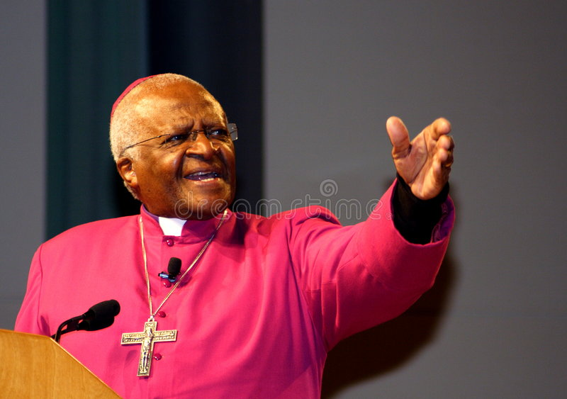 Desmond Tutu sprechen in Minneapolis stockfotos