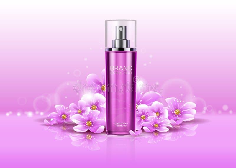 desodorierendes Mittel 3d mit Blumen oder realistischem Spray stock abbildung