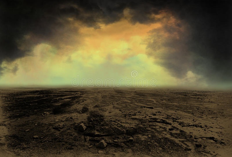 Desolate Desert Landscape Illustration Background. This is a hand-drawn image using electronic media. The nature scene shows a barren land with dark storm royalty free illustration