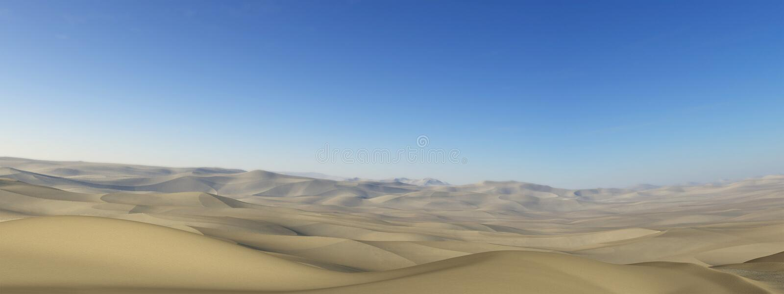 Desolate Desert Panoramic Panorama Illustration. Illustration of a desolate barren sand desert background. Orientation is in a banner, panorama, or panoramic stock illustration