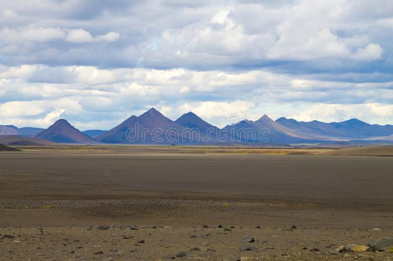Desolate landscape along central highlands of Iceland. Iceland panorama. Route F907, vatnajokull, national, park, area, background, beautiful, beauty, blue royalty free stock photos