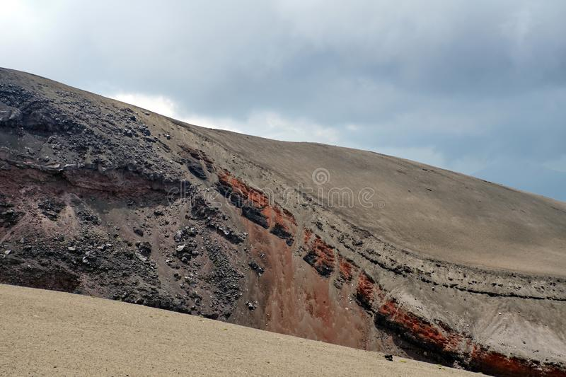 Desolate landscape on Cotopaxi Volcano. Desolate landscape of iron rich stone on top of Cotopaxi Volcano outside of Quito, Ecuador stock photography