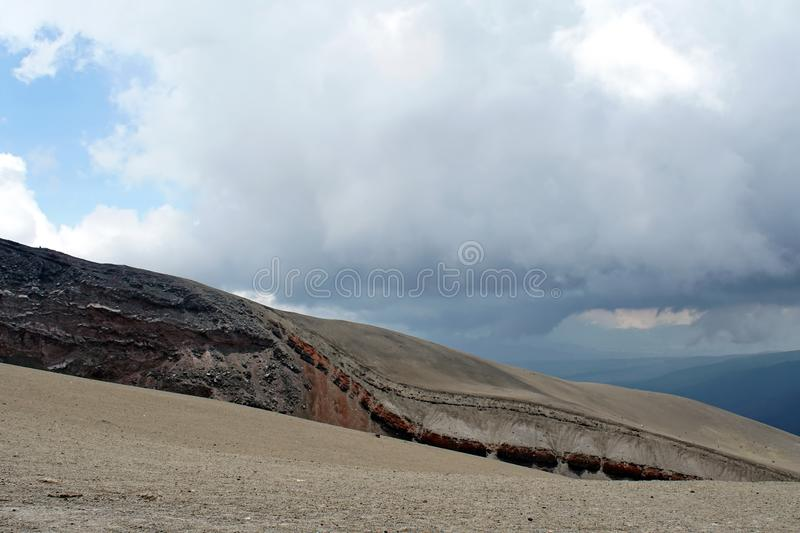 Desolate landscape on Cotopaxi Volcano. Desolate landscape of iron rich stone on top of Cotopaxi Volcano outside of Quito, Ecuador royalty free stock photography