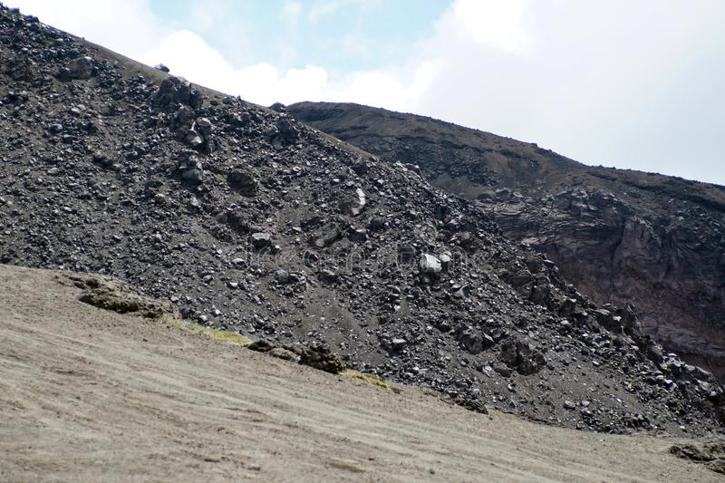 Desolate landscape on Cotopaxi Volcano. Desolate landscape of iron rich stone on top of Cotopaxi Volcano outside of Quito, Ecuador stock image