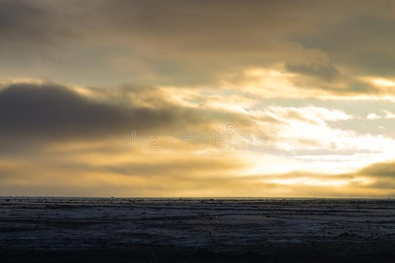 Desolate landscape from Kverfjoll area, Iceland panorama. Sigurdarskali location highlands vatnajokull national park background backlight black central country stock photography
