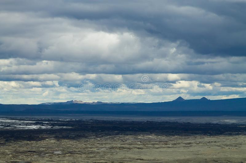 Desolate landscape from Kverfjoll area, Iceland panorama. Sigurdarskali location highlands vatnajokull national park background backlight black central country stock image