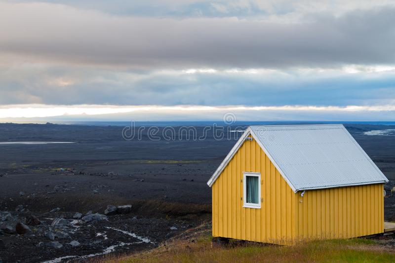 Desolate landscape from Kverfjoll area, Iceland panorama. Sigurdarskali location royalty free stock image