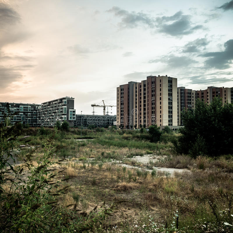 Desolate suburb landscape. In a gloomy day royalty free stock image