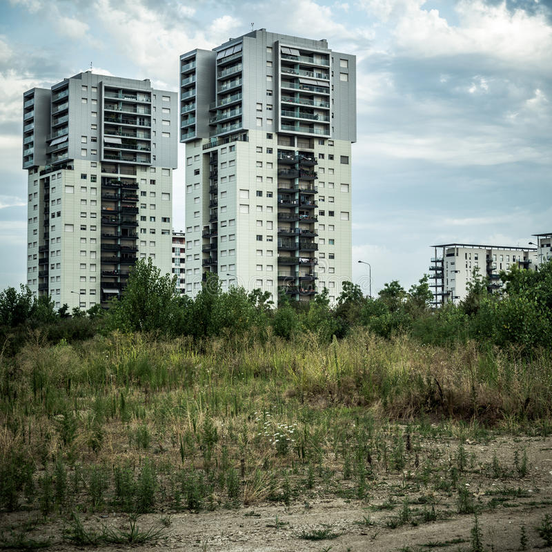 Desolate suburb landscape. In a gloomy day stock photos
