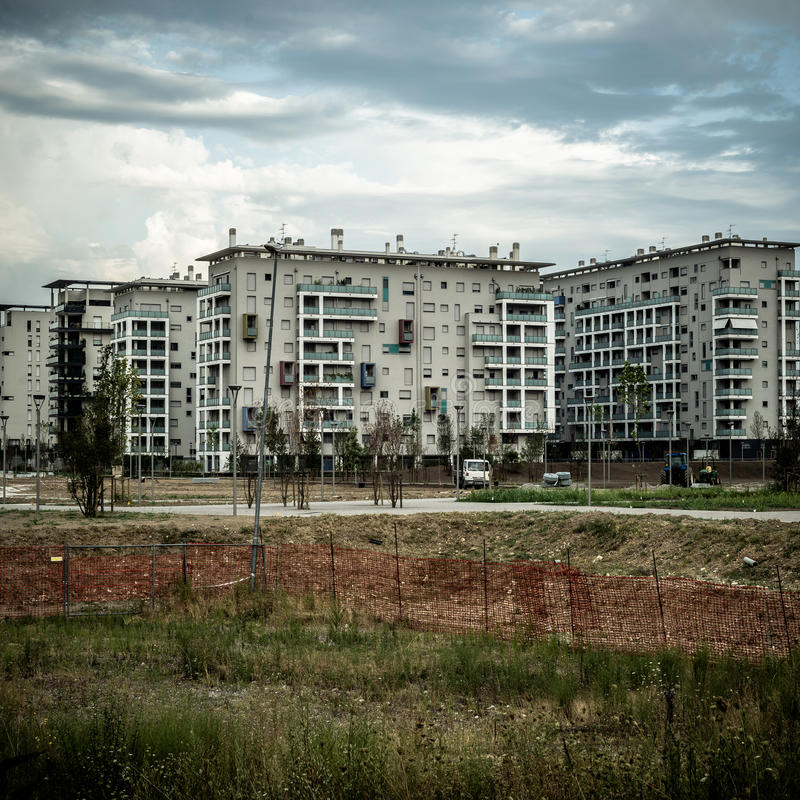 Desolate suburb landscape. In a gloomy day stock images