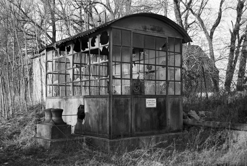 Desolate winch-cabin. From the oil-harbour at the river Danube, Lobau, Vienna, Austria, 1974 stock image