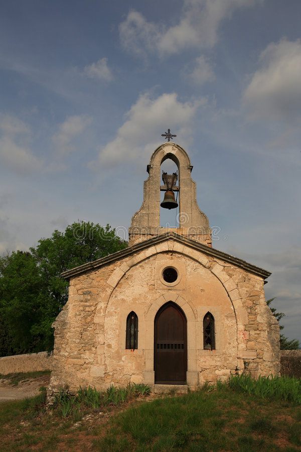 Desolated roadside chapel in France stock photos