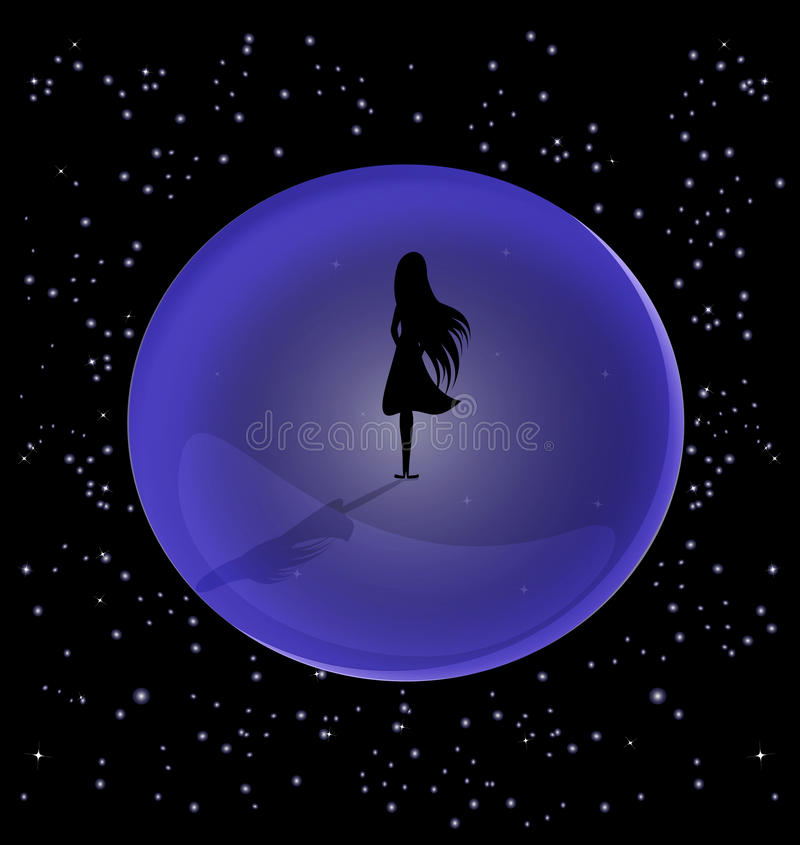 Desolation. In the space is a lone female figure, encased in a ball stock illustration