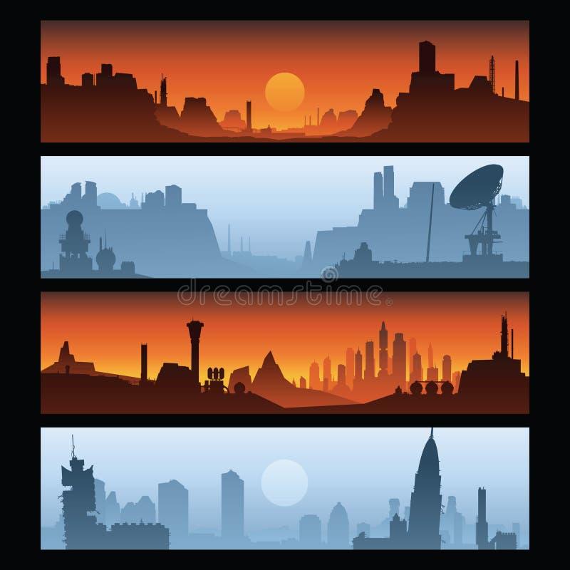 Desolation Banners. A set of cartoon backdrop banners of desolation stock illustration