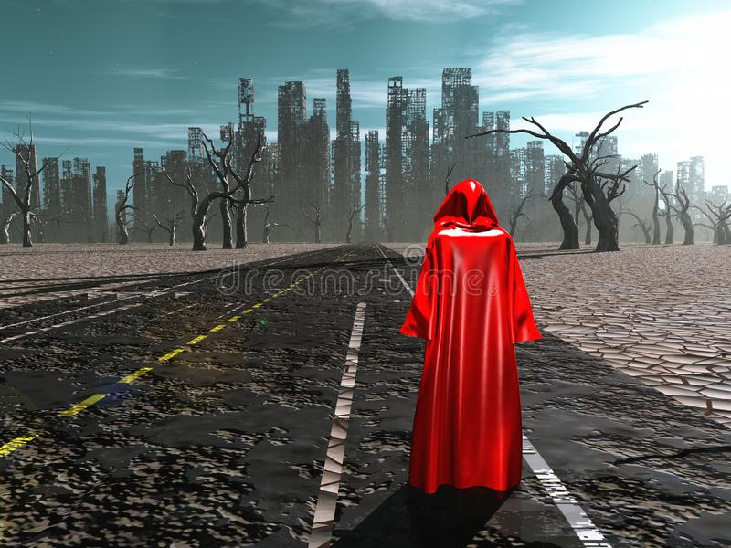 Desolation. Figure in red cloak stands on a road to destroyed city. Human elements were created with 3D software and are not from any actual human likenesses royalty free illustration