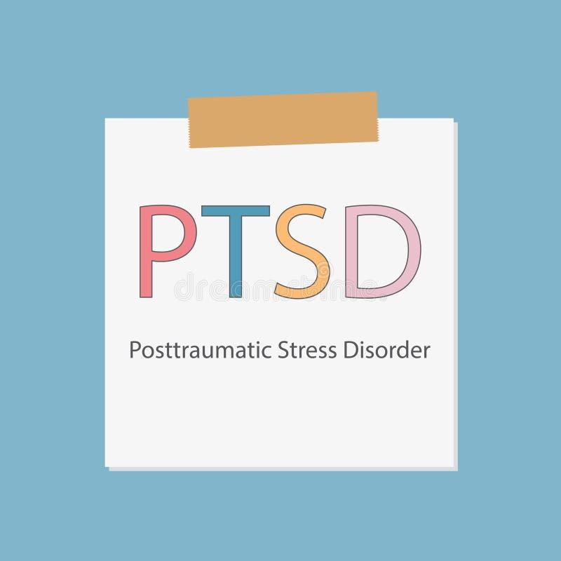 Desordem de esforço de PTSD Posttraumatic escrita no papel do caderno ilustração stock