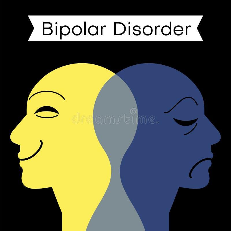 Desordem de humor Personalidade rachada Mente da doença bipolar mental Conceito duplo da personalidade ilustração royalty free