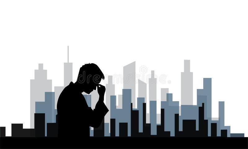 Desordem depressiva dos povos na cidade grande ilustração do vetor