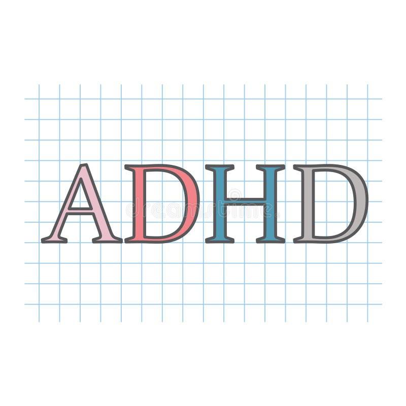 Desorden de la hiperactividad del déficit de atención de ADHD escrito en el papel a cuadros ilustración del vector
