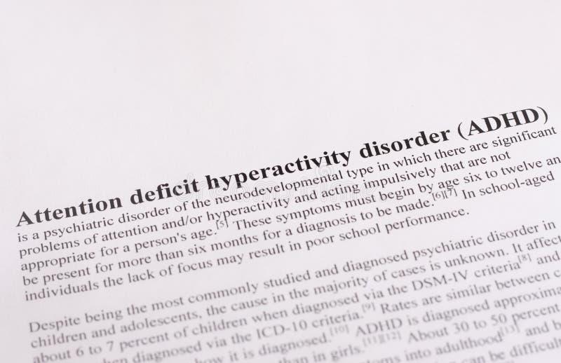 Desorden de la hiperactividad del déficit de atención o ADHD. fondo médico o de la atención sanitaria imagen de archivo libre de regalías