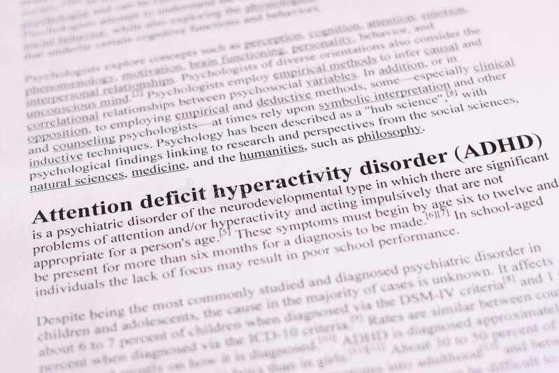 Desorden de la hiperactividad del déficit de atención o ADHD. fondo médico o de la atención sanitaria foto de archivo libre de regalías