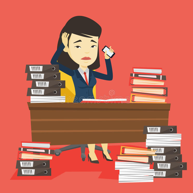 Despair business woman working in office. vector illustration