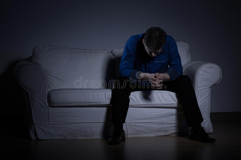 Despair man thinking about problems royalty free stock photos