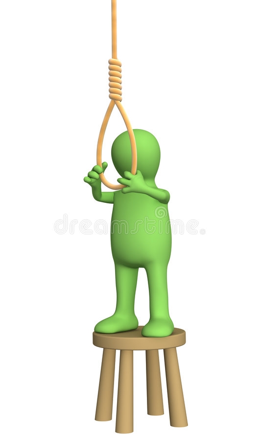 Despaired 3d person - puppet, making suicide. Objects over white royalty free illustration