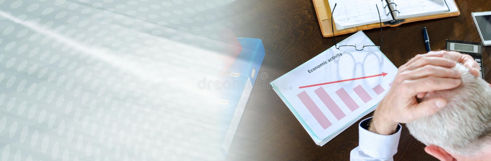 Falling down of economic activity. panoramic banner. Despairing businessman because of the economic crisis. panoramic banner royalty free stock photography