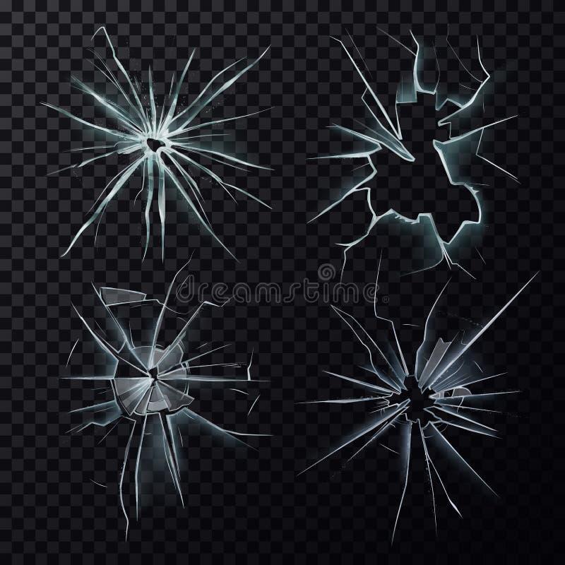 Despedaçado ou quebrou quebras da janela, da tela ou do vidro ilustração stock