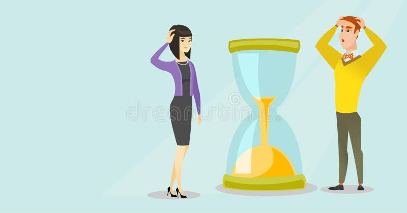 Desperaccy ludzie biznesu patrzeje hourglass ilustracja wektor