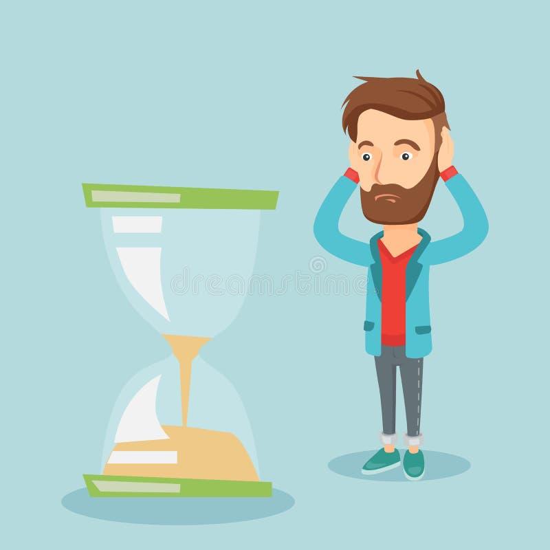 Desperat affärsman som ser timglaset vektor illustrationer