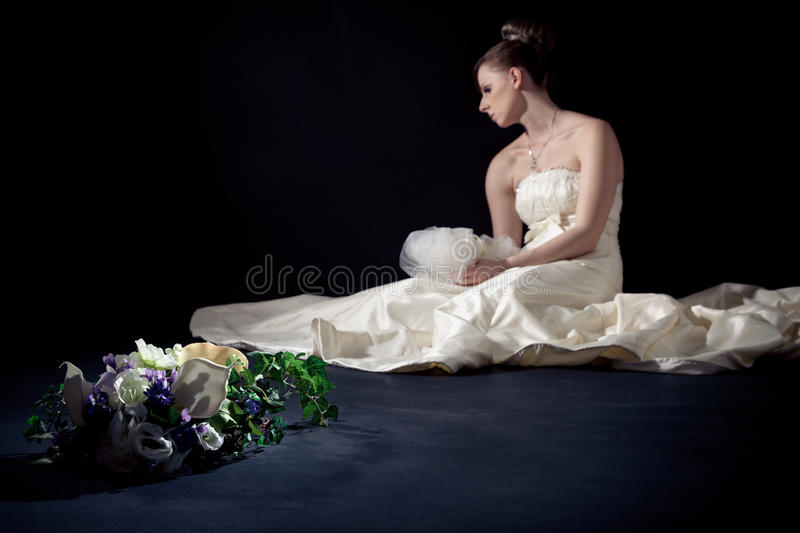 Desperate Bride In Studio stock images