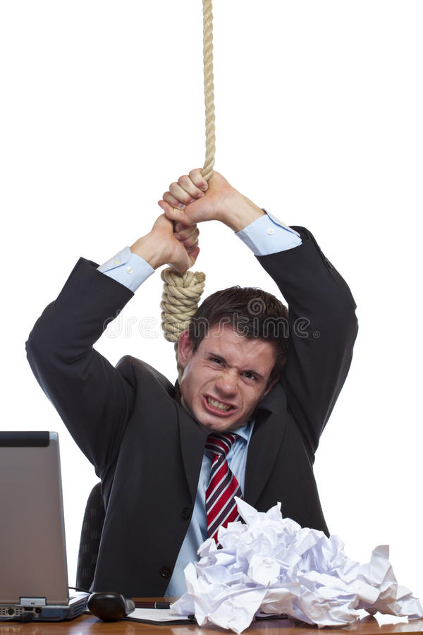 Desperate Business man commits suicide in office royalty free stock photo