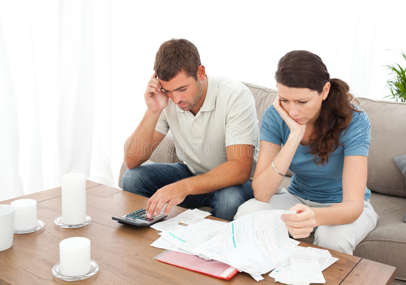 Download Desperate Couple Doing Their Accounts Stock Image - Image: 17279235