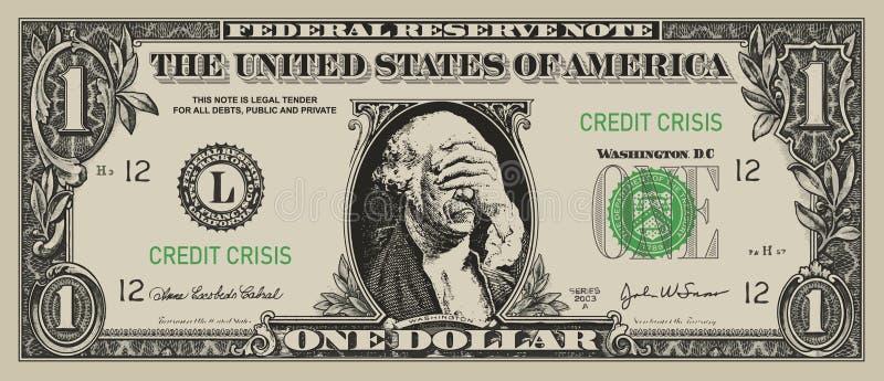 Desperate Dollar. Vector illustration of an American one dollar bill