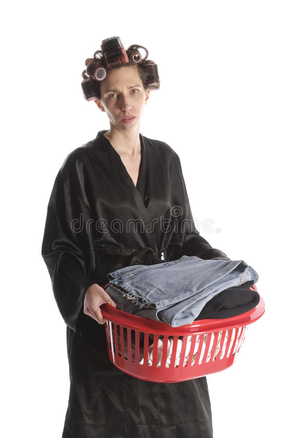 Desperate housewife ironing royalty free stock photos