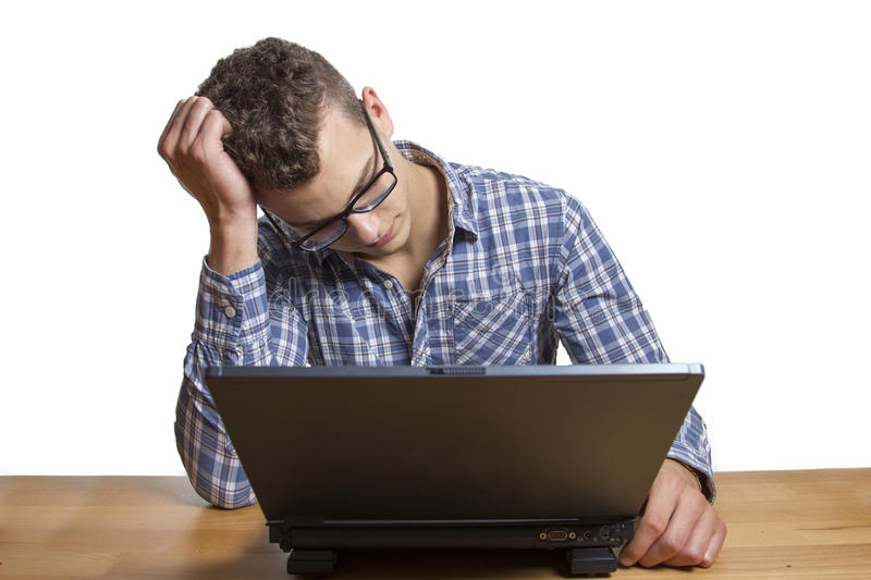 Download Desperate Man Sitting At The Computer Stock Image - Image: 34137751