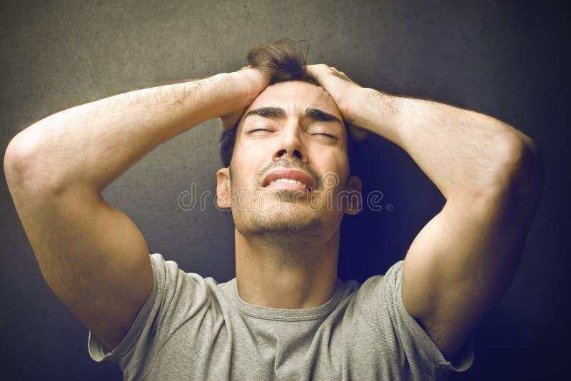 Desperate man stock image
