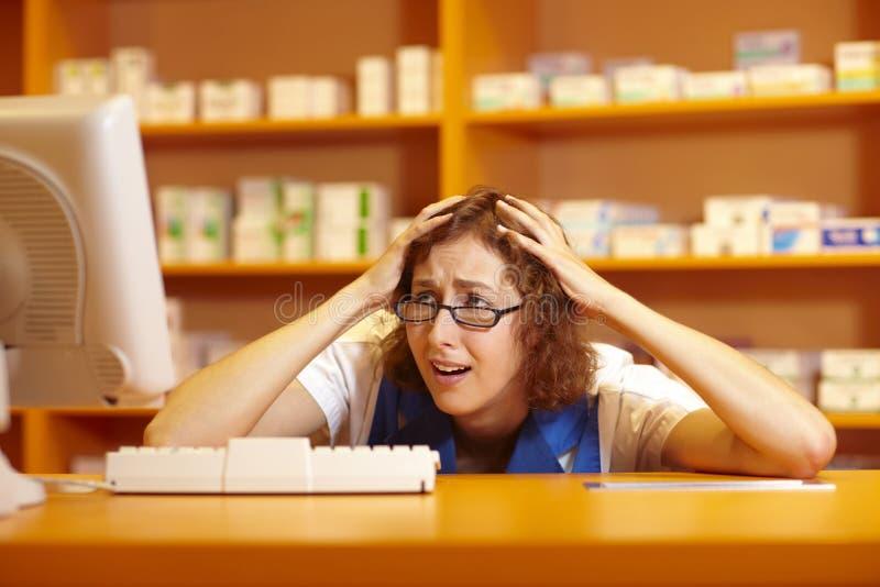 Desperate pharmacist royalty free stock photos
