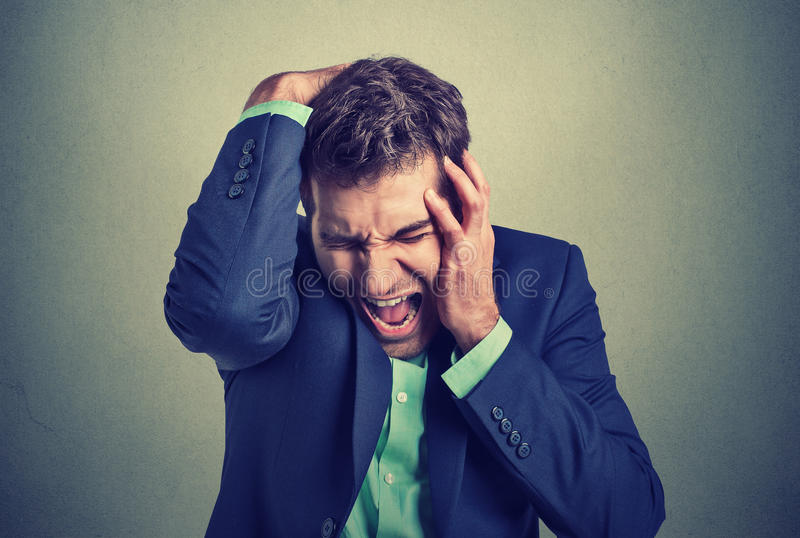 Desperate stressed business man royalty free stock photography