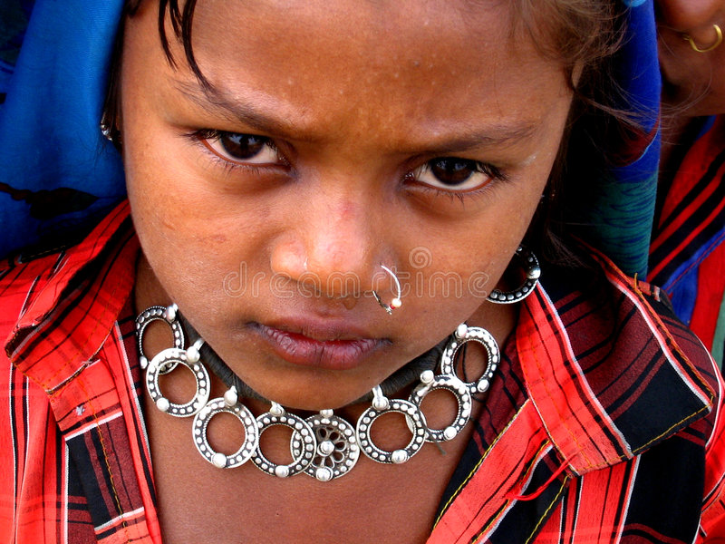 Desperate Tears. A beggar girl from India with an antique necklace desperately cries as she begs royalty free stock photos