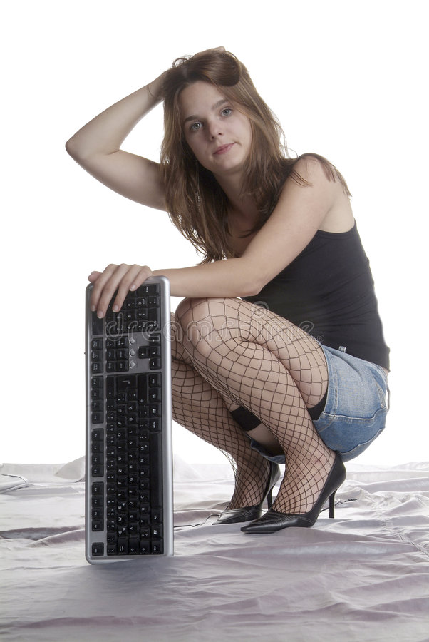 Desperate Woman With Keyboard Stock Images
