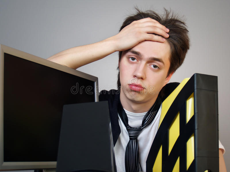 Download Desperate Young Businessman In The Office Stock Image - Image of depression, alone: 20532443